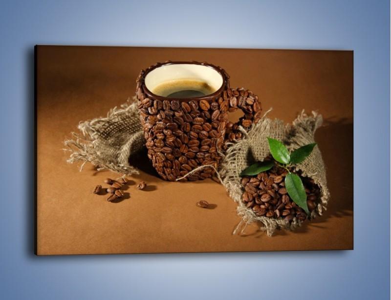 Obraz na płótnie – Kubek z ziarnami kawy – jednoczęściowy prostokątny poziomy JN388