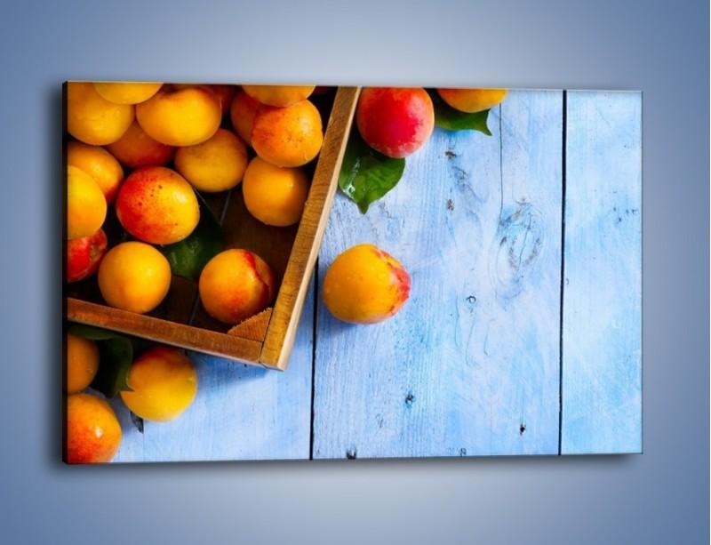 Obraz na płótnie – Brzoskwinie w drewnianej skrzyni – jednoczęściowy prostokątny poziomy JN404
