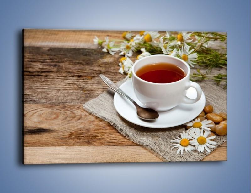 Obraz na płótnie – Herbata wśród stokrotek – jednoczęściowy prostokątny poziomy JN413