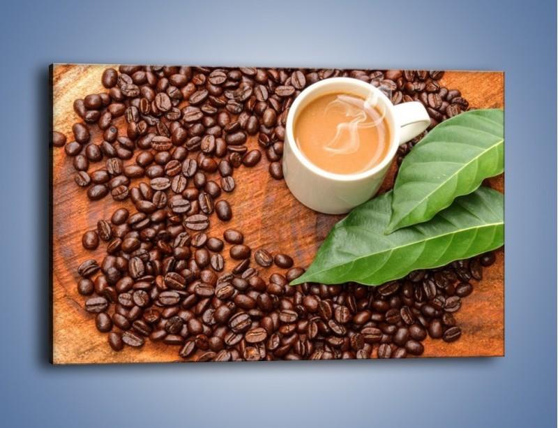 Obraz na płótnie – Ziarna kawy pod liściem – jednoczęściowy prostokątny poziomy JN417