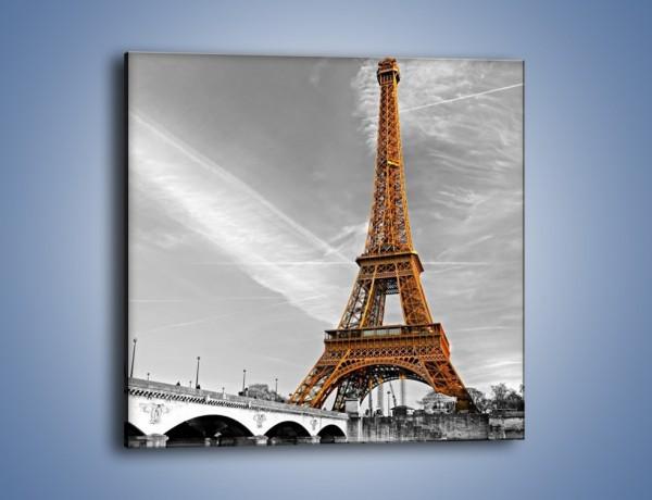 Obraz na płótnie – Wieża Eiffla na szarym tle – jednoczęściowy kwadratowy AM467