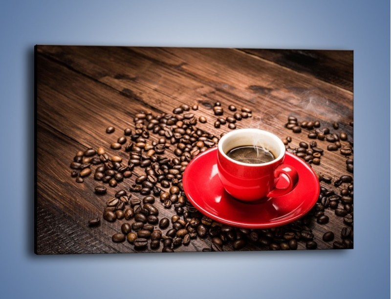 Obraz na płótnie – Kawa w czerwonej filiżance – jednoczęściowy prostokątny poziomy JN441