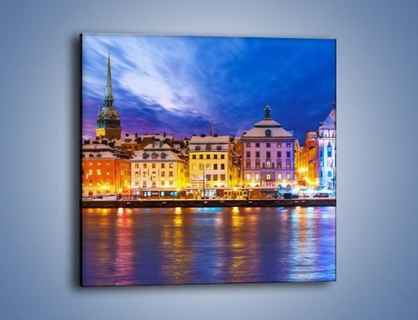 Obraz na płótnie – Sztokholm w zimowej scenerii – jednoczęściowy kwadratowy AM468