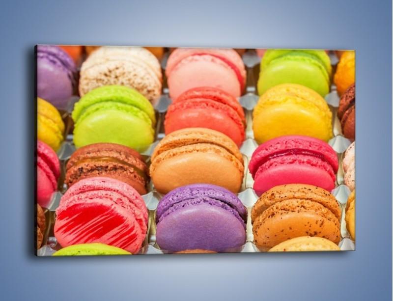 Obraz na płótnie – Słodkie babeczki w kolorach tęczy – jednoczęściowy prostokątny poziomy JN458