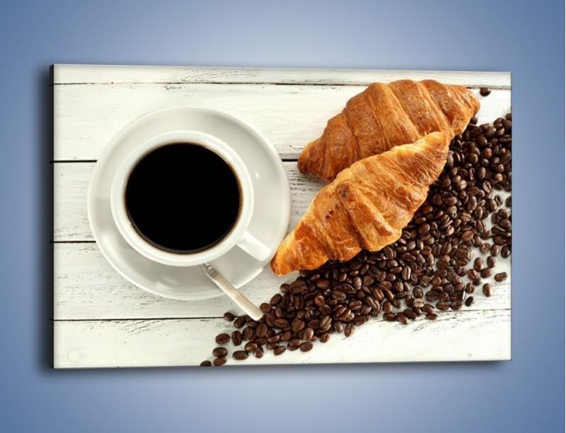 Obraz na płótnie – Kawa na białym stole – jednoczęściowy prostokątny poziomy JN462