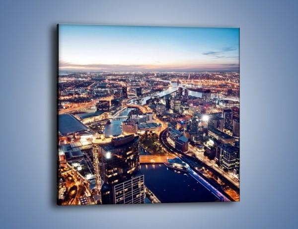 Obraz na płótnie – Panorama Melbourne po zmierzchu – jednoczęściowy kwadratowy AM470