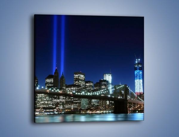 Obraz na płótnie – Most Brookliński nocą – jednoczęściowy kwadratowy AM476