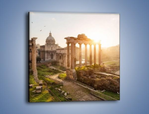 Obraz na płótnie – Rzymskie ruiny o zachodzie słońca – jednoczęściowy kwadratowy AM480