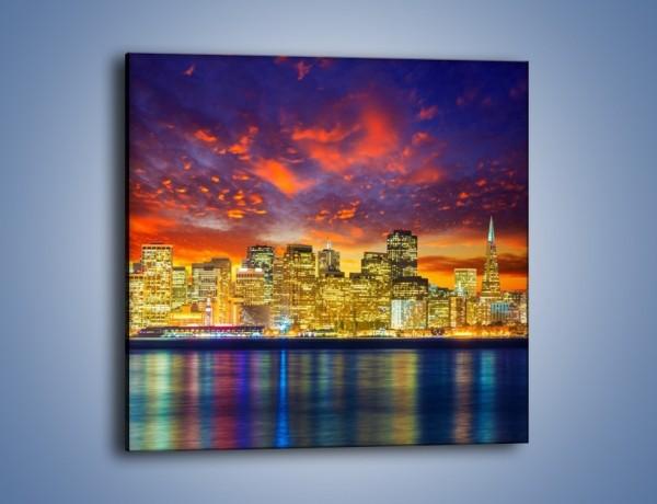 Obraz na płótnie – Wieżowce San Francisco nad wodą – jednoczęściowy kwadratowy AM481