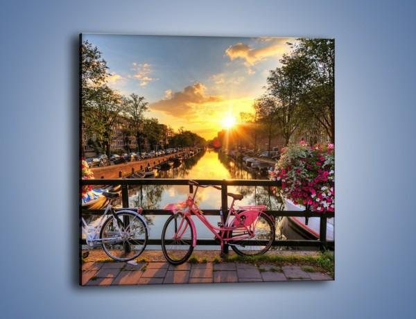 Obraz na płótnie – Zachód słońca nad amsterdamskim kanałem – jednoczęściowy kwadratowy AM483