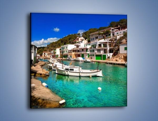 Obraz na płótnie – Domki nad wodą na Majorce – jednoczęściowy kwadratowy AM484