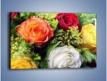 Obraz na płótnie – Róże z polnymi dodatkami – jednoczęściowy prostokątny poziomy K061