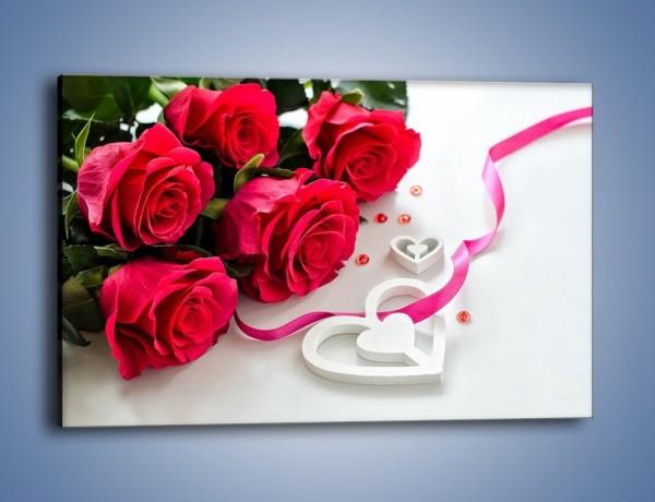 Obraz na płótnie – Róża z miłosnym przekazem – jednoczęściowy prostokątny poziomy K1011