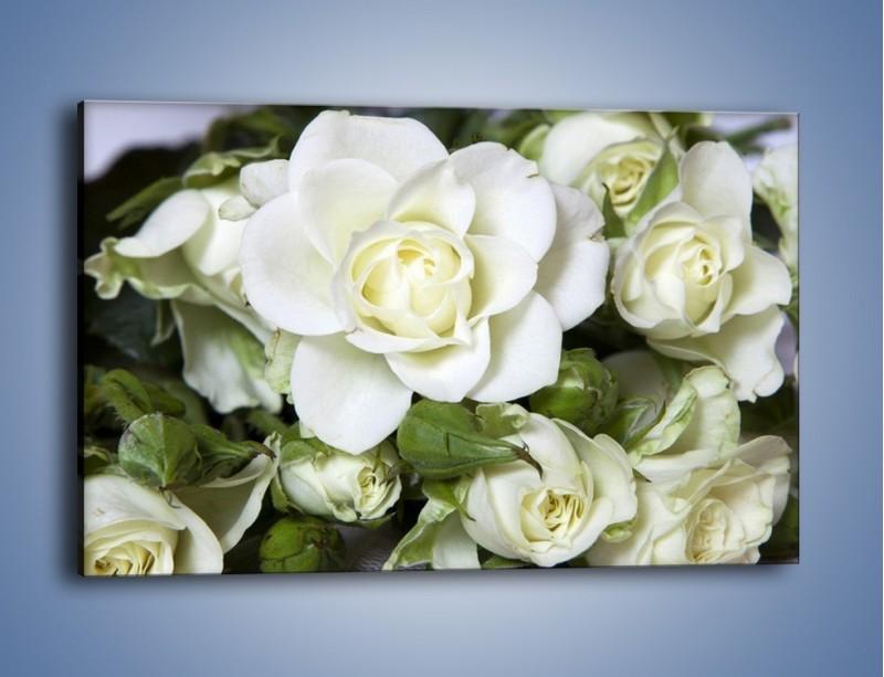 Obraz na płótnie – Białe róże na stole – jednoczęściowy prostokątny poziomy K131