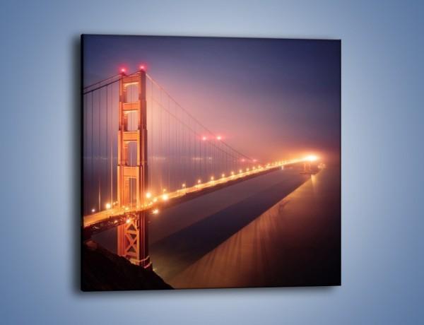 Obraz na płótnie – Most Golden Gate w nocnej mgle – jednoczęściowy kwadratowy AM490