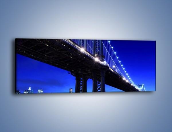 Obraz na płótnie – Oświetlony most wieczorem – jednoczęściowy panoramiczny AM003
