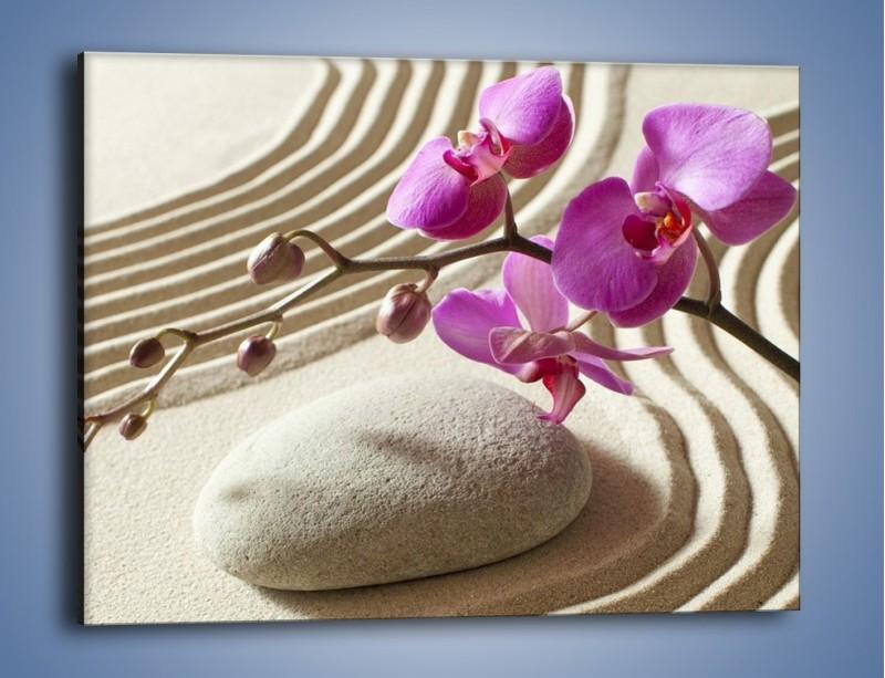 Obraz na płótnie – Wzór na piasku i kwiat – jednoczęściowy prostokątny poziomy K432