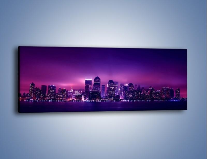 Obraz na płótnie – Wieżowce w odcieniach fioletu – jednoczęściowy panoramiczny AM008