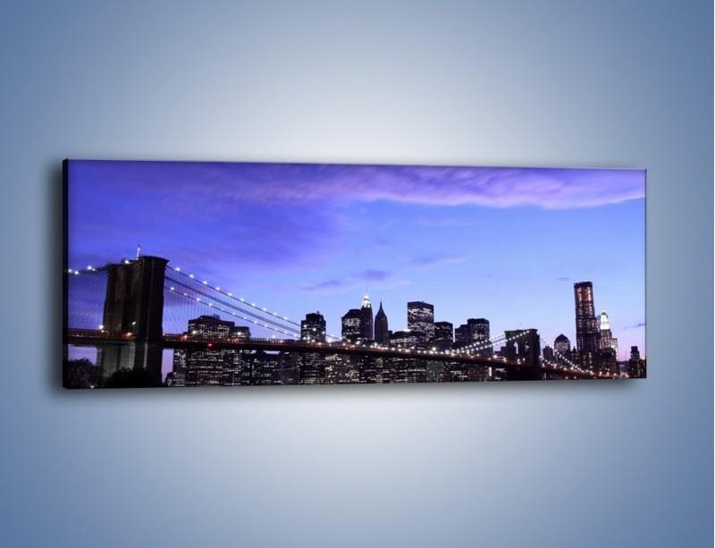 Obraz na płótnie – Most Brookliński przed zmierzchem – jednoczęściowy panoramiczny AM016