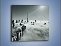 Obraz na płótnie – Centrum Dubaju we mgle – jednoczęściowy kwadratowy AM502