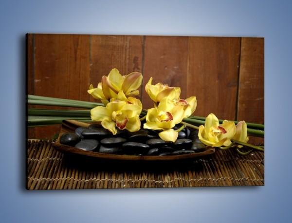 Obraz na płótnie – Kwiaty na drewnianym naczyniu – jednoczęściowy prostokątny poziomy K575