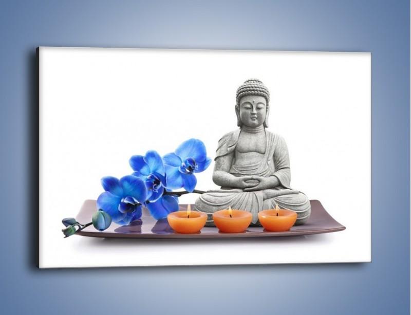 Obraz na płótnie – Budda i kwiat – jednoczęściowy prostokątny poziomy K593