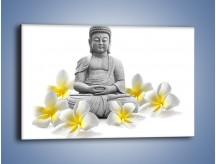 Obraz na płótnie – Budda w białych kwiatach – jednoczęściowy prostokątny poziomy K599