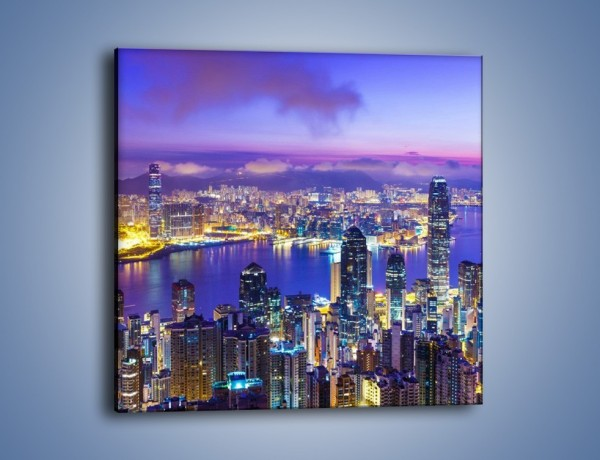 Obraz na płótnie – Wieczorna panorama Hong Kongu – jednoczęściowy kwadratowy AM505