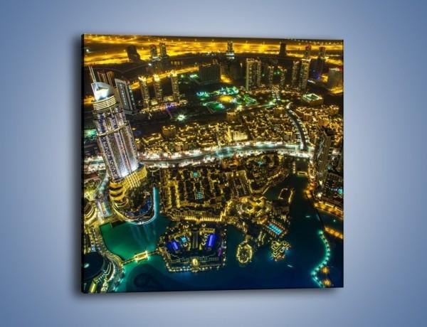 Obraz na płótnie – Dubaj nocą z lotu ptaka – jednoczęściowy kwadratowy AM507