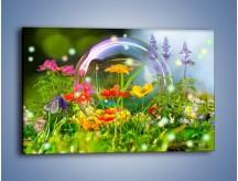Obraz na płótnie – Bańkowy świat kwiatów – jednoczęściowy prostokątny poziomy K691