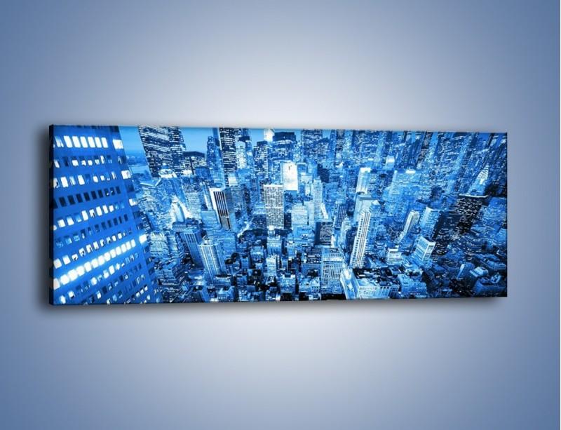 Obraz na płótnie – Centrum miasta w niebieskich kolorach – jednoczęściowy panoramiczny AM042