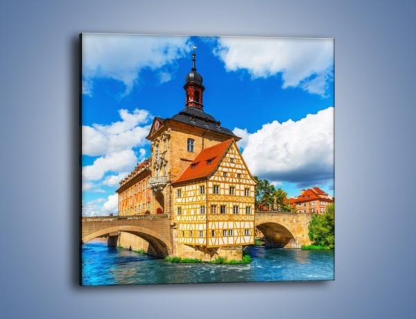 Obraz na płótnie – Ratusz w mieście Bamberg – jednoczęściowy kwadratowy AM513