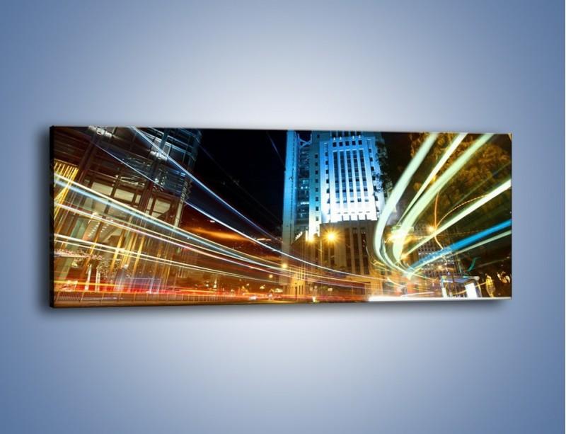 Obraz na płótnie – Światła w ruchu ulicznym – jednoczęściowy panoramiczny AM048