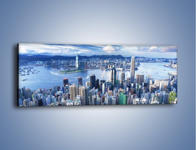 Obraz na płótnie – Miasto portowe o poranku – jednoczęściowy panoramiczny AM050