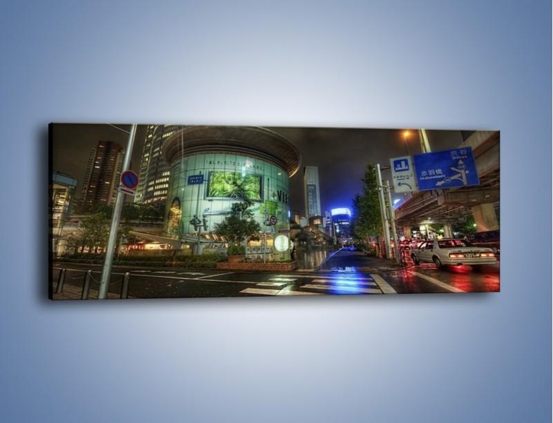 Obraz na płótnie – Spokojne Tokyo nocą – jednoczęściowy panoramiczny AM056
