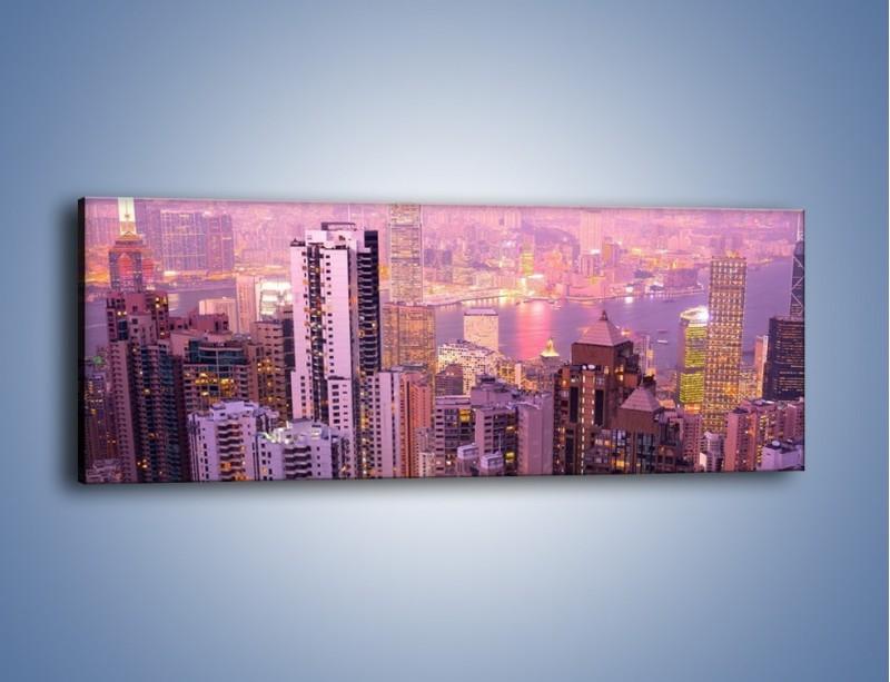 Obraz na płótnie – Duże miasto budzące się o poranku do życia – jednoczęściowy panoramiczny AM062