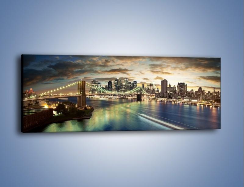 Obraz na płótnie – Oświetlony most w Nowym Jorku – jednoczęściowy panoramiczny AM066