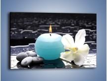 Obraz na płótnie – Błękit świecy z kwiatem – jednoczęściowy prostokątny poziomy K887