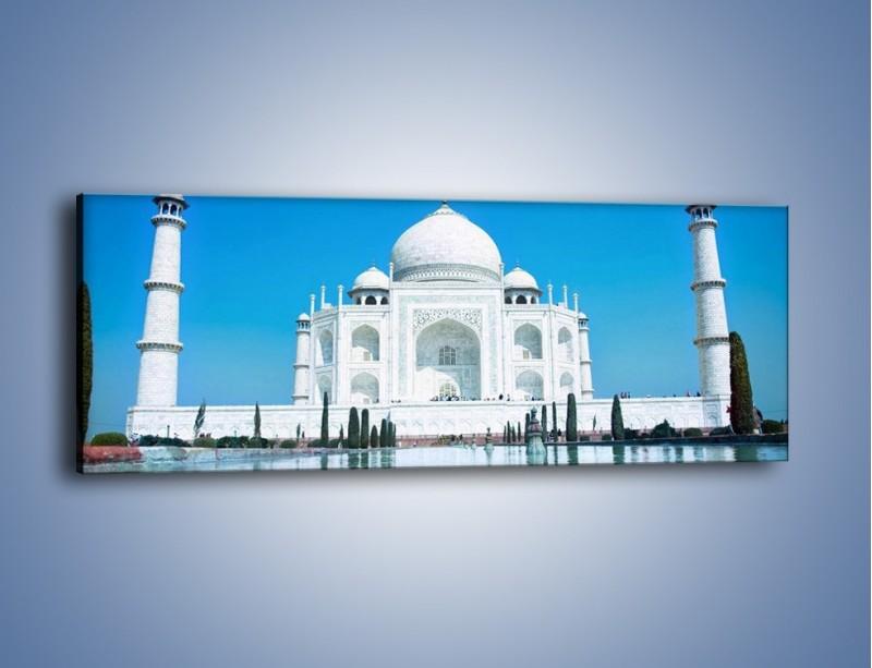 Obraz na płótnie – Taj Mahal pod błękitnym niebem – jednoczęściowy panoramiczny AM077