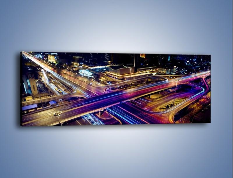 Obraz na płótnie – Skrzyżowanie autostrad nocą w ruchu – jednoczęściowy panoramiczny AM087