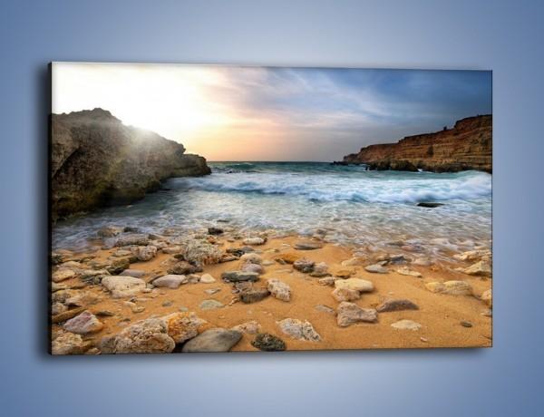 Obraz na płótnie – Kamienista plaża o poranku – jednoczęściowy prostokątny poziomy KN043