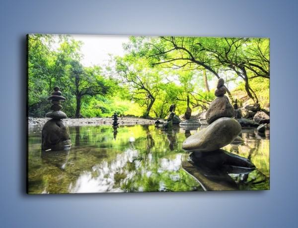 Obraz na płótnie – Kamienne piramidy na wodzie – jednoczęściowy prostokątny poziomy KN068