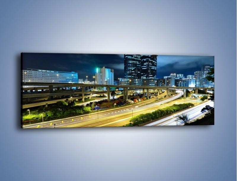Obraz na płótnie – Przedmieście miasta wieczorem – jednoczęściowy panoramiczny AM091