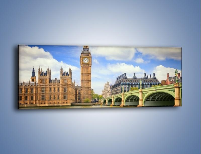 Obraz na płótnie – Big Ben w pochmurny dzień – jednoczęściowy panoramiczny AM095