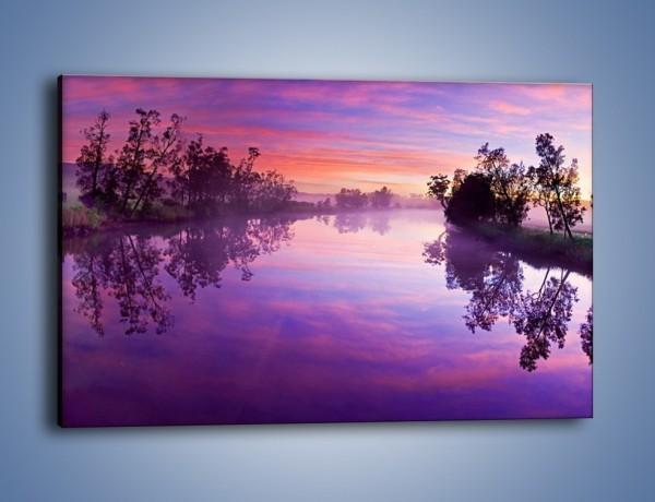 Obraz na płótnie – Fiolet w wodzie i na niebie – jednoczęściowy prostokątny poziomy KN1046