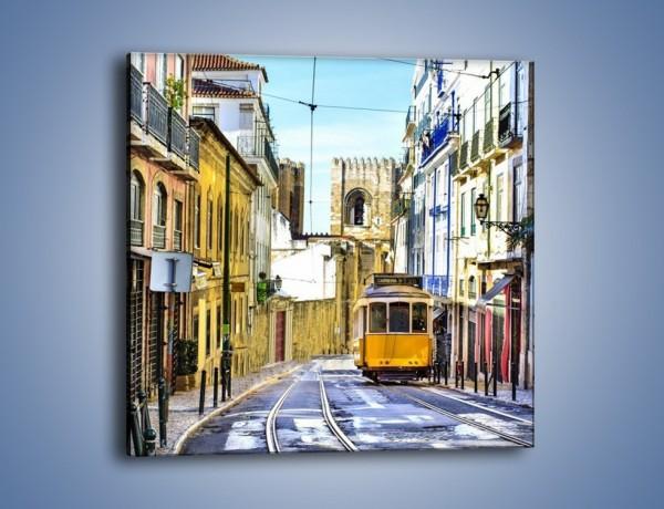 Obraz na płótnie – Romantyczna uliczka w Lizbonie – jednoczęściowy kwadratowy AM530