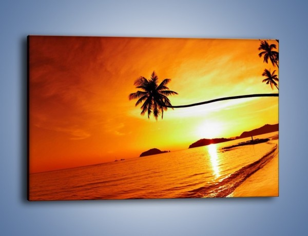 Obraz na płótnie – Palma o zachodzie słońca – jednoczęściowy prostokątny poziomy KN1077