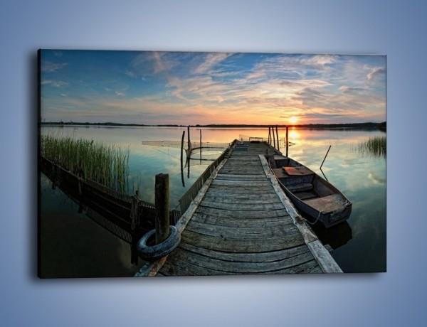 Obraz na płótnie – Stary most i łódź – jednoczęściowy prostokątny poziomy KN1096A