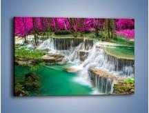 Obraz na płótnie – Purpurowy las i wodospad – jednoczęściowy prostokątny poziomy KN1099