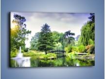 Obraz na płótnie – Drzewka woda i mostek – jednoczęściowy prostokątny poziomy KN1114